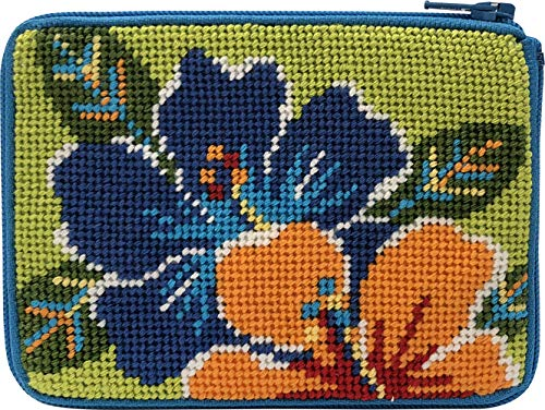 Bright Hibiscus Needlepoint Coin Purse Kit - Stitch & Zip (Needlepoint Purse Kit Coin)