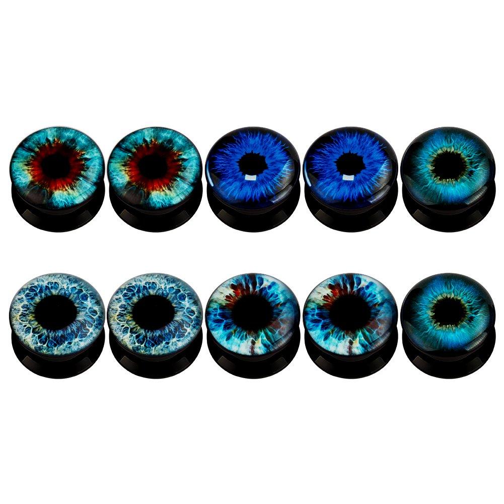 KUBOOZ (5 Pares Orejas de acrílico del Ojo del Diablo Tapones Túneles calibradores Piercings de Camilla: Amazon.es: Joyería