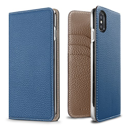 BONAVENTURA iPhone X Leather Wallet Case (Beautiful European Full-Grain Leather) | Luxury Flip Cover Folio Case [iPhone X | Blue & Taupe] by BONAVENTURA (Image #3)