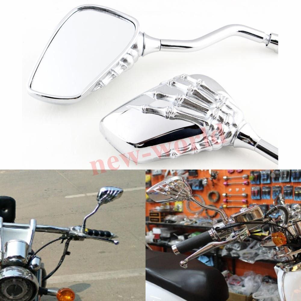 2x Motorcycle Motorbike Skeleton Hand Claw Side Rear View Billet Mirror For Suzuki Honda Kawasaki Yamaha Victory Motorcycle Moto Bike Cruiser Chopper