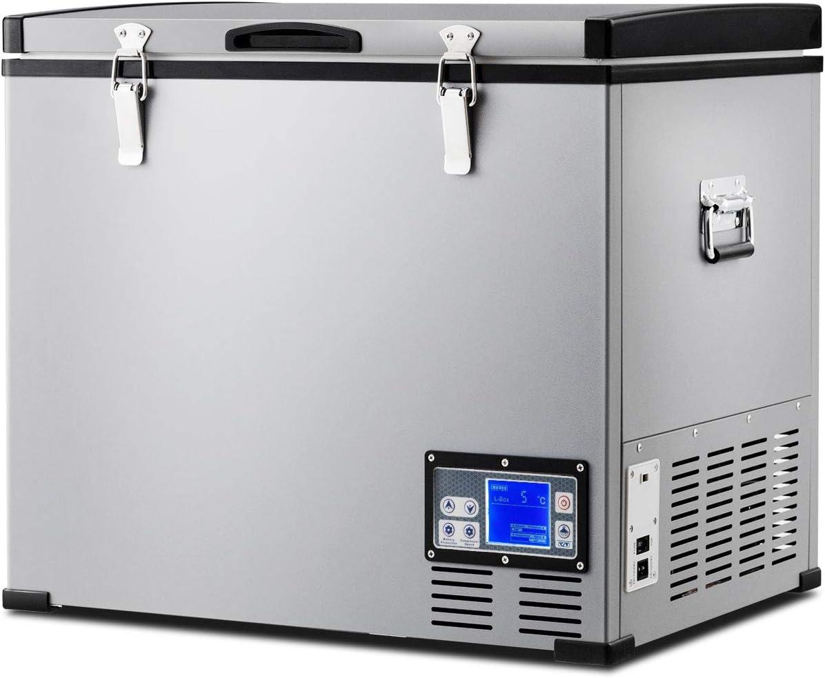 COSTWAY Car Freezer, 63 Quart Compressor Travel Refrigerator -0.4°F to 50°F, Portable & Compact Single Door Vehicle Electric Cooler Fridge, Refrigerator with LCD Display & Lighting Bulbs(63 Quart)
