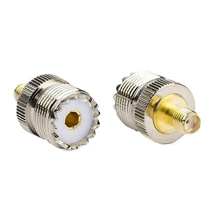 (Pack of 2) RF Coaxial Coax – Adaptador SMA hembra a UHF hembra SO