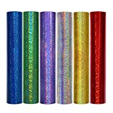 TECKWRAP Holographic Sparkle Adhesive Craft Precut Vinyl Sheets 12' x 12' 6 Sheets/Pack