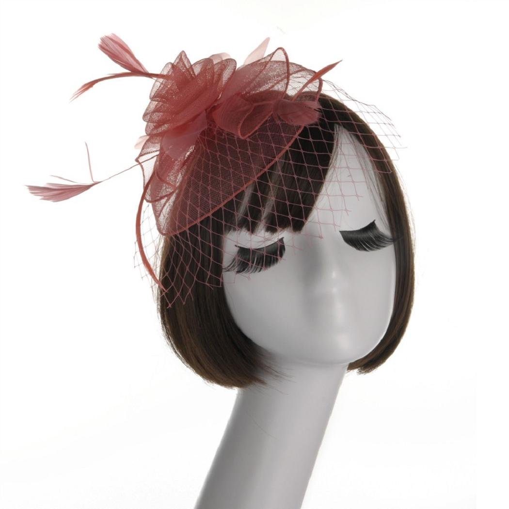 Fascinators Hats ShenPr Feather Mesh Flower Fascinator Hat with Hair Clip Party for Girls and Ladies (Watermelon Red_369)