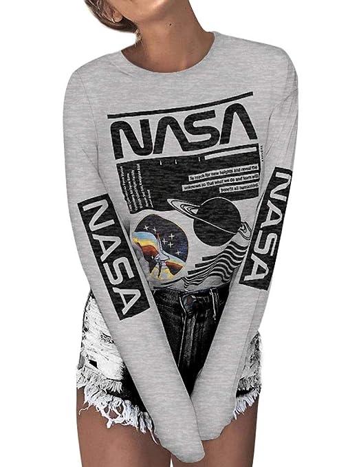 W&TT Camiseta Logotipo de la NASA Mujeres clásico Cuello ...