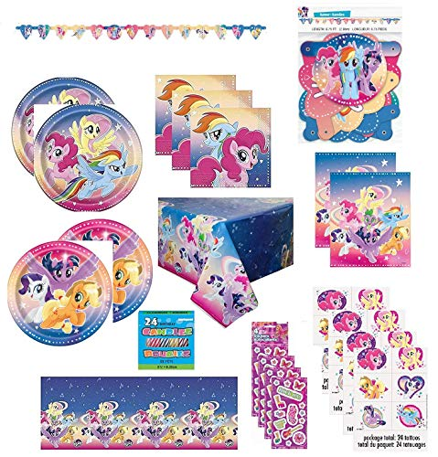 (Party Bundle My Little Pony Birthday Party Supply Set for 16 includes Plates, Napkins, Table Cover, Loot Bags, Tattoos, Stickers, Candles )