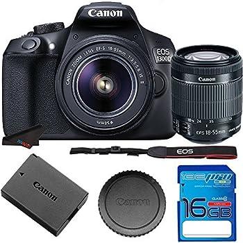 Canon EOS 1300D / T6 EF-S 18-55mm 18 7MP CMOS 5184 x 3456 Pixels (Black) +  16GB SD Card