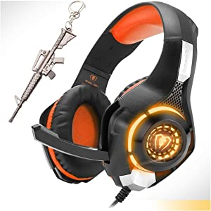 Orange Gaming Headset,Computer Headsets PC 3.5mm Plug Headphones,Lightweight Headset,LED Light,Volume Control,Noise Canceling Mic,for PS4,PC,Xbox ONE,Tablet,Phone,Laptop,Mac Controller (Orange)