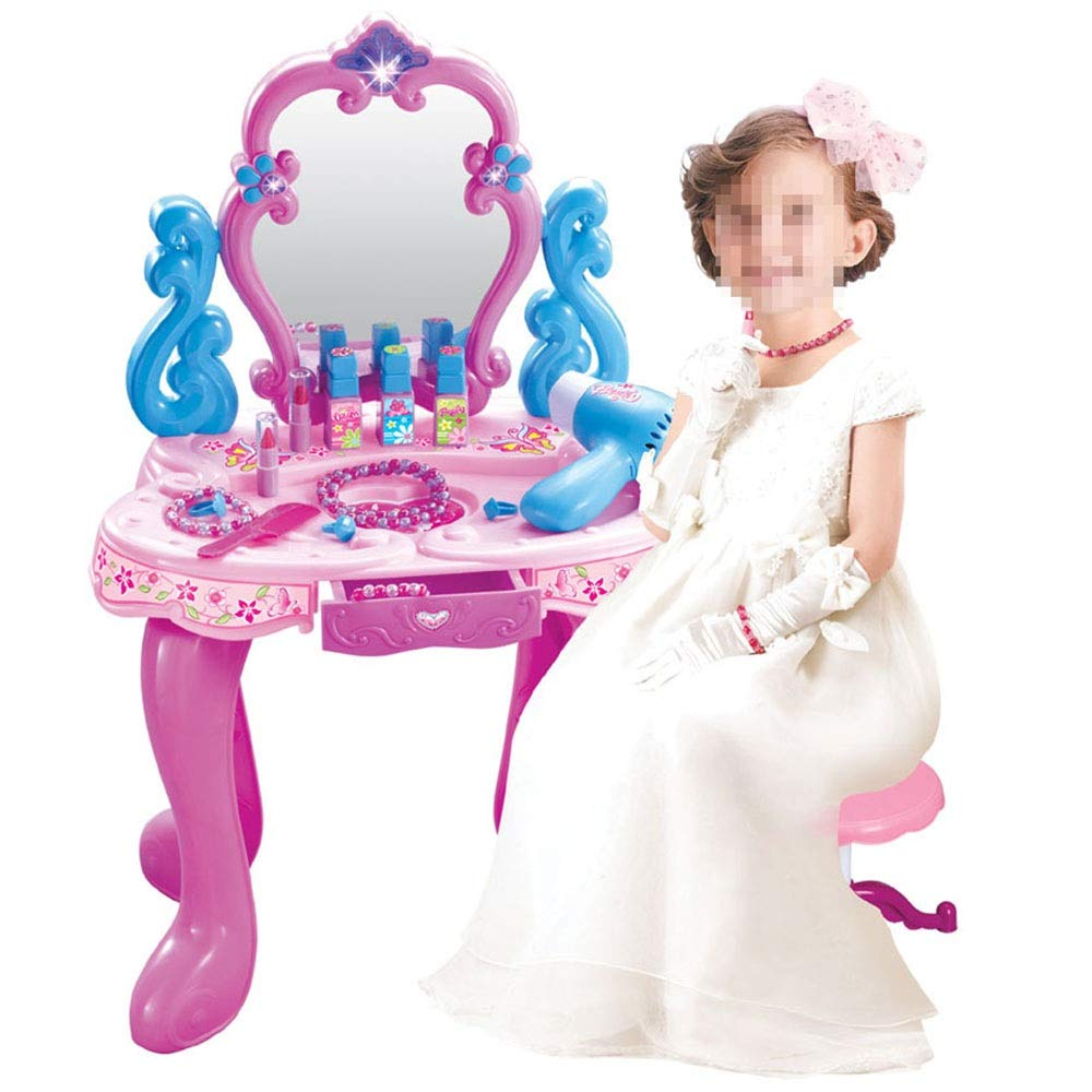 Children's Vanity Beauty Dresser Table Play Toddler Fantasy Vanity Beauty Dresser Table Play Set Makeup Accessories for Kid and Pretend Toy Toy for Kids Girls (Color : Pink, Size : 7030cm)