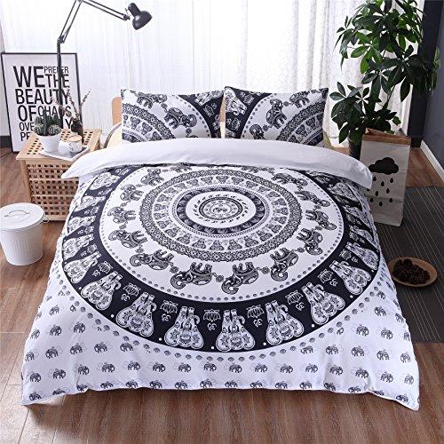 Meeting Story Mandala Bohemian Design 3Pcs Duvet Cover Set (Full, (Black And White Paisley Duvet Cover)