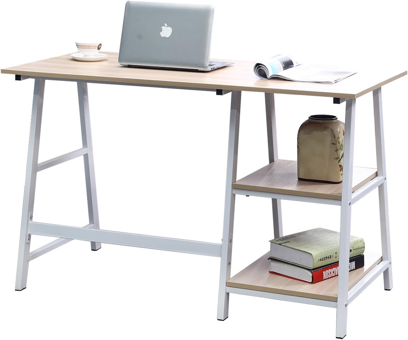 Negro /& Negro DlandHome Escritorio de Madera de 120 60 cm con estantes Mesa de Escritura de Postes de Trabajo para el hogar y la Oficina