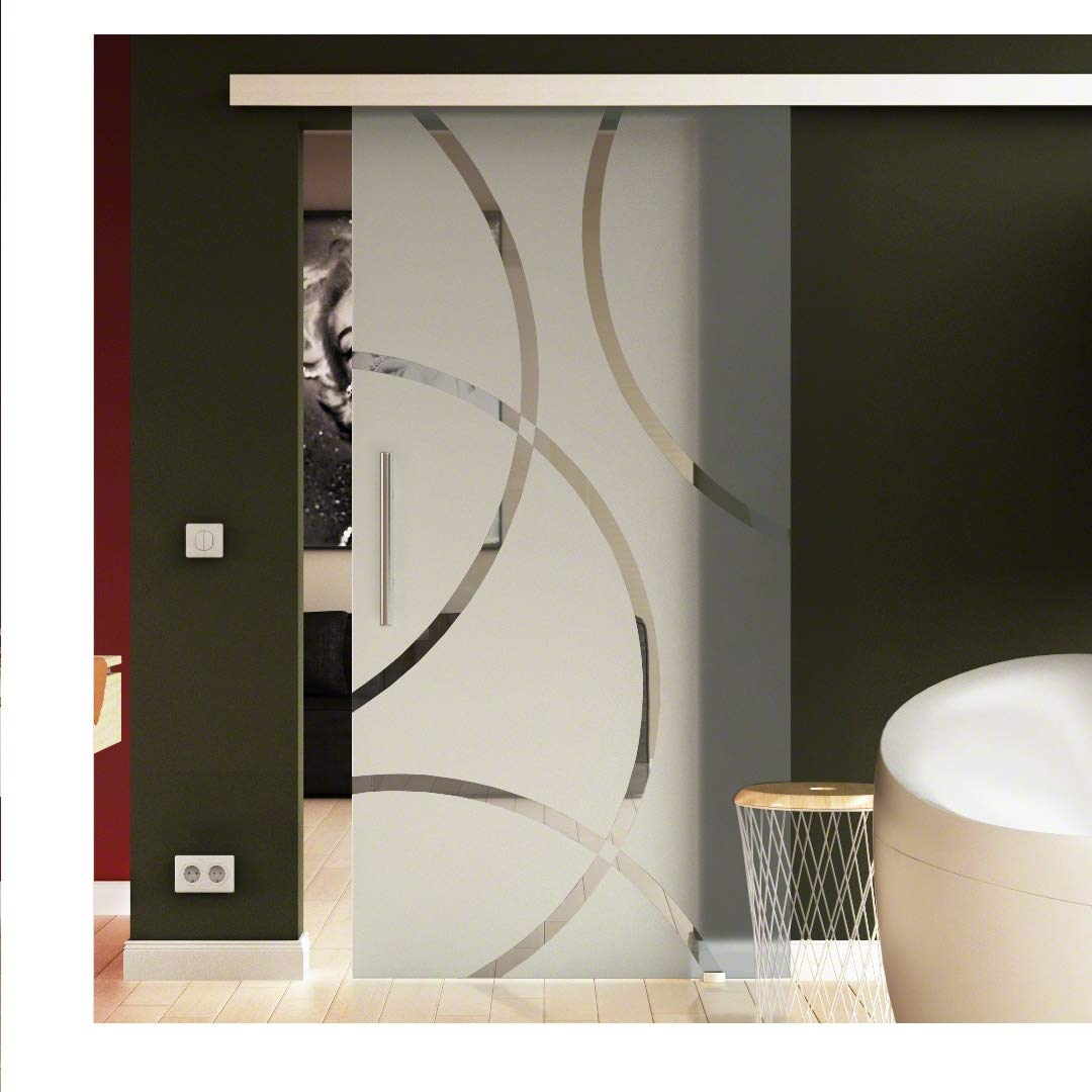 Design-Glas in hoher Qualit/ät aus Deutschland inkl Sicherheitsglas in 8mm Stangengriff beidseitig Soft-Close Glasschiebet/ür Made in Germany in Circle-Design 1025 x 2050 mm f/ür Innenbereich