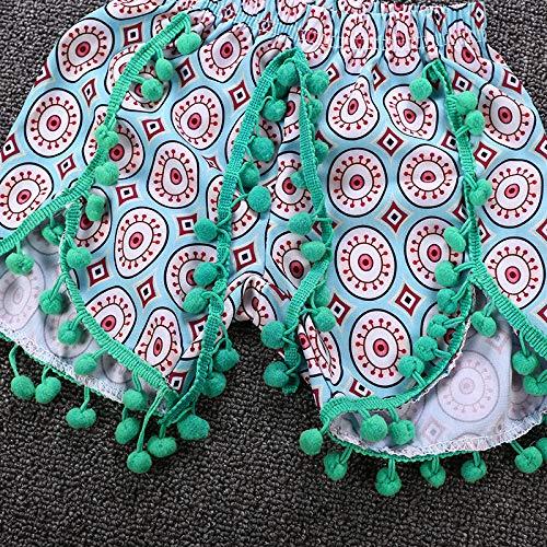 Infant Baby Girl Crop Top Ball Tassel Shorts Pants Sunsuit Playwear+Headband Bohemia Summer Outfits Set 3pcs 0-24M