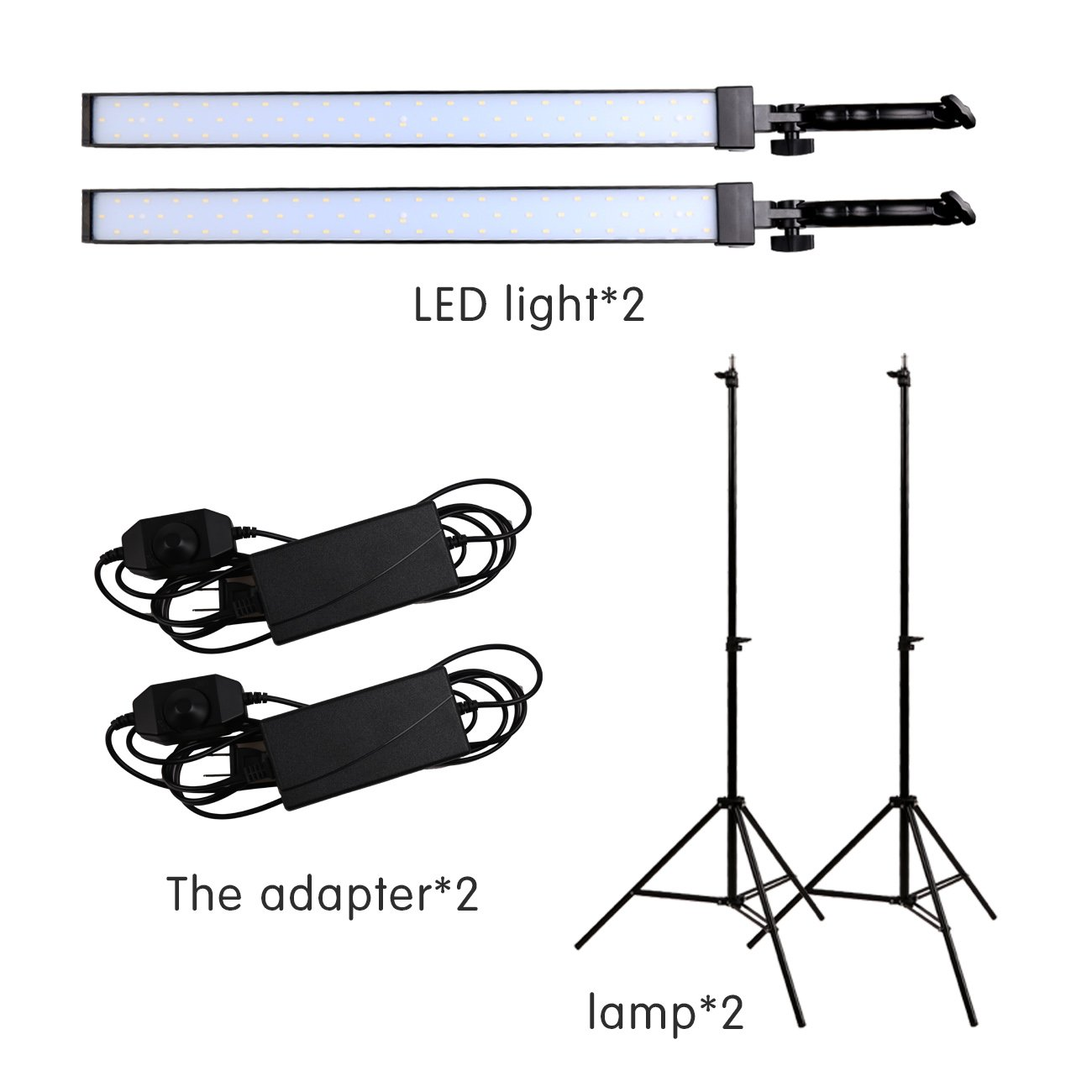 GSKAIWEN Photography Studio LED Lighting Kit Adjustable Light with Light Stand Tripod Photographic Video Capture Portraits by GSKAIWEN