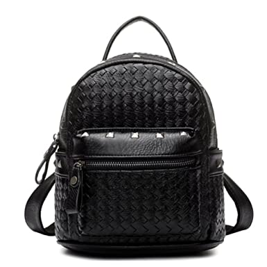 Tiny Chou(TM) Girls Mini Woven Spikes PU Leather Backpacks Cute Travel Daypack Black