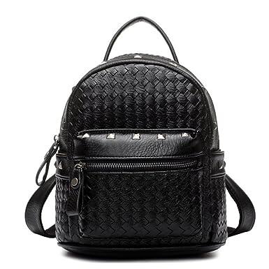 Tiny Chou(TM) Girls Mini Woven Spikes PU Leather Backpacks Cute Travel Daypack Black