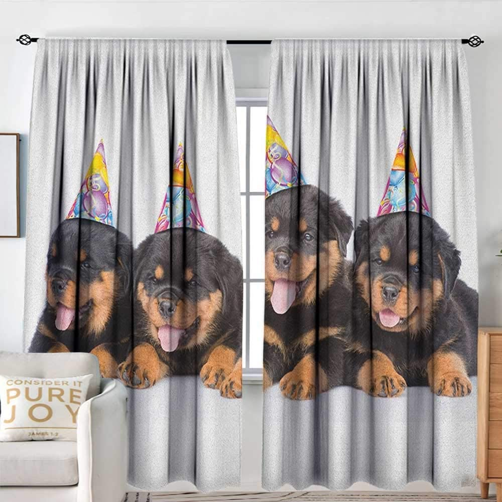 Nuomanan Pattern Curtains Kids Birthday Rottweiler Puppies With Party Cone Hats Cute Puppies Dogs Art Print Black And Marigold Rod Pocket Curtain Panels For Bedroom Kitchen 120 X96 Amazon Ca Home Kitchen
