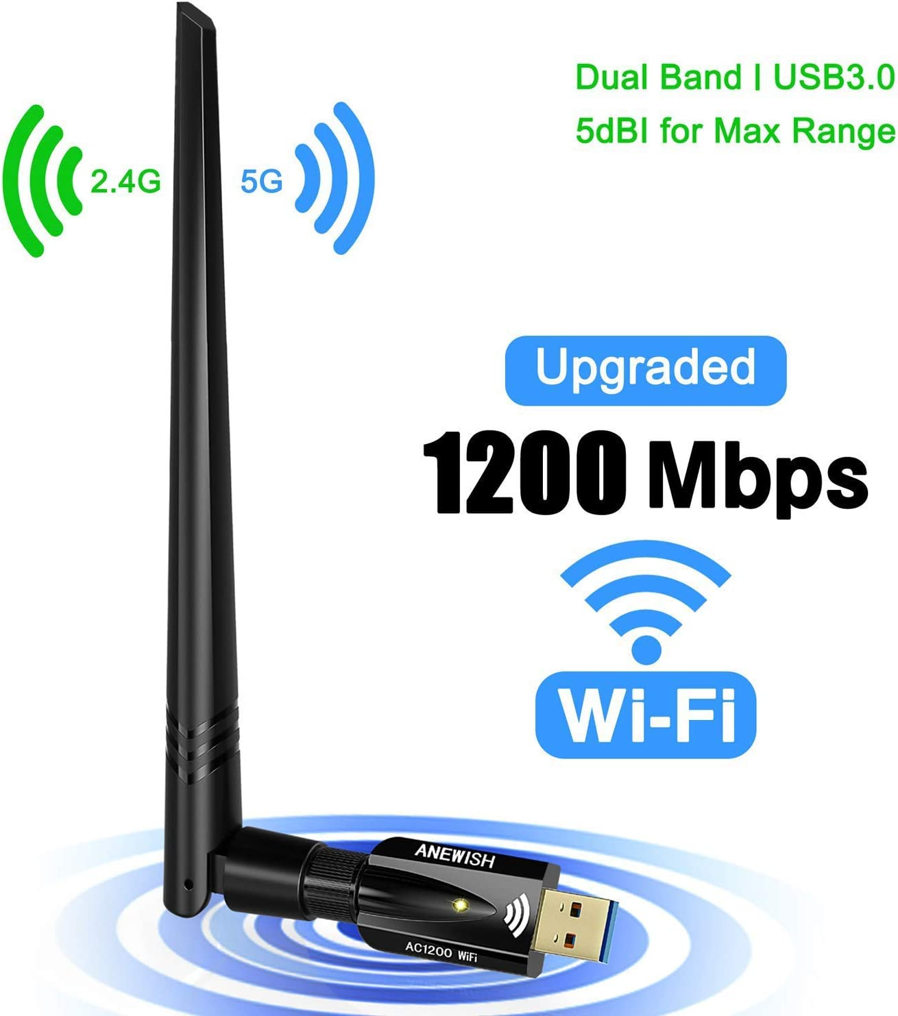 AC 1200Mbps Wireless WiFi USB Adapter Dual Band 2.4//5Ghz with Aerial 802.11AC Network Card High Speed USB3.0 Receiver