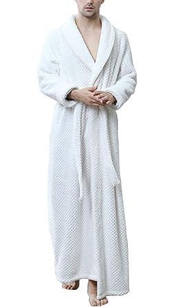 Men Fluffy Velvet Towelling Dressing Gown for Bedroom Housecoat White M 576fdd7f3
