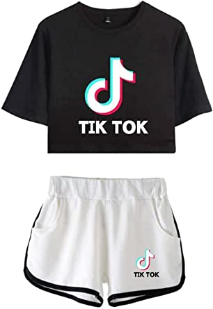 Flyself Girls TIK-TOK Crop Top & Shorts 2 Pieces Set Tracksuit Gym Running Tracksuit Summer Casual Sportswear Pajamas Yoga Clothes
