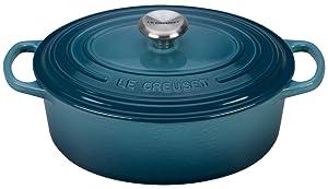 Le Creuset Enameled Cast Iron Signature Oval Dutch French Oven, 2 3/4 quart, Marine