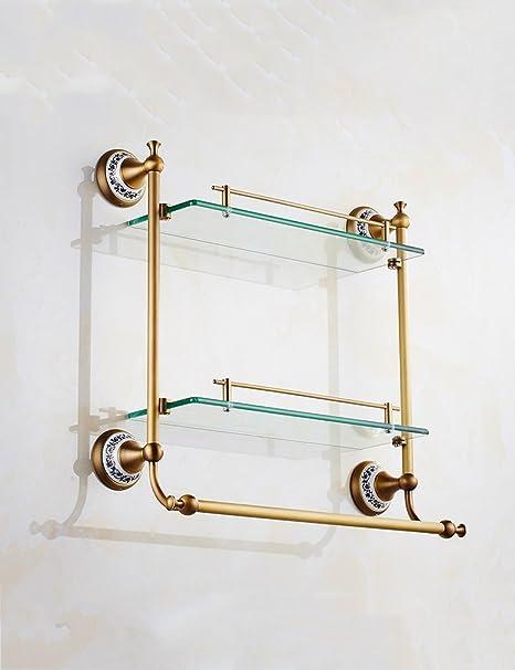 Estanterias De Cristal Para Cuartos De Bano.Estante De Vidrio Para El Bano Bano Bastidores Espejo Doble
