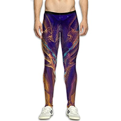 JJP1CO Men's Compression Pants Painting Dragon 3D Print Baselayer Cool Dry Sports Thermal Tights Running Fitness