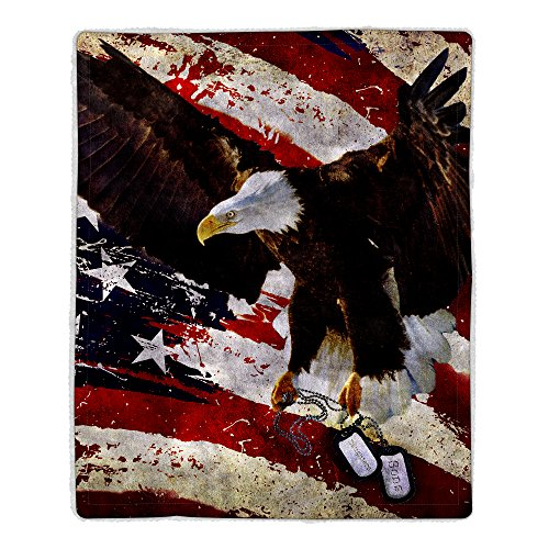 - Lavish Home 64-Eagle Sherpa Fleece Blanket, American Flag Bald