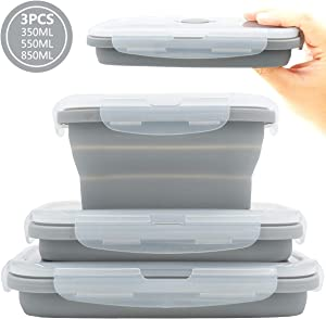Duoyou Collapsible Silicone Lunch Bento Box, Portable Food Storage Container Outdoor Picnic Box Space Saving, Microwave, Dishwasher and Freezer Safe, 3 Pcs Set (Grey)