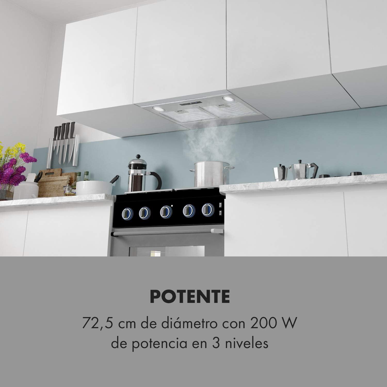 Klarstein Paolo Extractor de humos - Campana extractora para encastrar, 72 cm de ancho, Absorción de 600 m³/h, 200 W, Filtro grasa de aluminio, Eficiencia energética de clase A, Acero inox, Plateado: