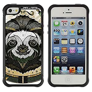 Hybrid Anti-Shock Defend Case for Apple iPhone 5 5S / Cool Sloth Tattoo Art
