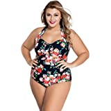 Womens Floral Printed Beachwear Key Hole Front Plus Size Swimwear Halter Backless One Piece Swimsuit