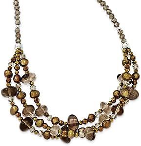 Plata de ley Fw Cult de la perla de cristal y cuarzo con 5