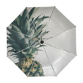 EnnE Paraguas Compacto de piña Paraguas de Viaje Lluvia Resistente al Viento UV protección 3 Plegable
