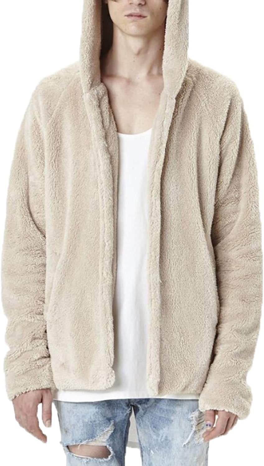 Asrlet Mens Warm Fluffy Solid Color Long Sleeve Loose Casual Hooded Coat Jacket