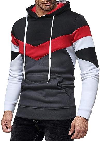 Amazon.com: Men's Fashion Hoodies Block Color Hooded Sweatshirts Casual  Pullover with Kangaroo Pocket: Clothing