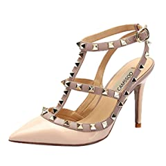 1490dced2414 CAMSSOO Women s Classic Studded Strappy Pumps Rivets High Heels Stiletto  Sandals T-Strap Shoes - Casual Women s Shoes