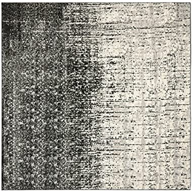 Safavieh Retro Collection RET2770-9079 Black and Light Grey Square Area Rug, 8 feet Square (8' Square)