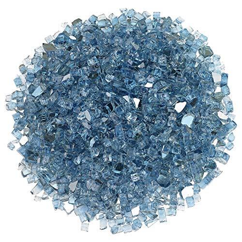 Blazing Fireglass 20-Pound Reflective Fire Glass with Fireplace Glass and Fire Pit Glass, 1/4-Inch, Pacific Blue (Pacific Blue Glass Fire)