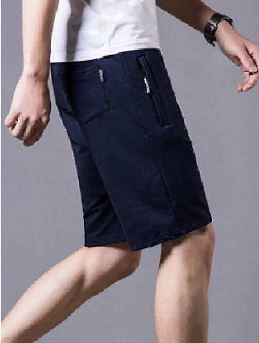 YUNY Mens Summer Drawstring Leisure Knit Athletic Solid Board Shorts Dark Blue 2XL