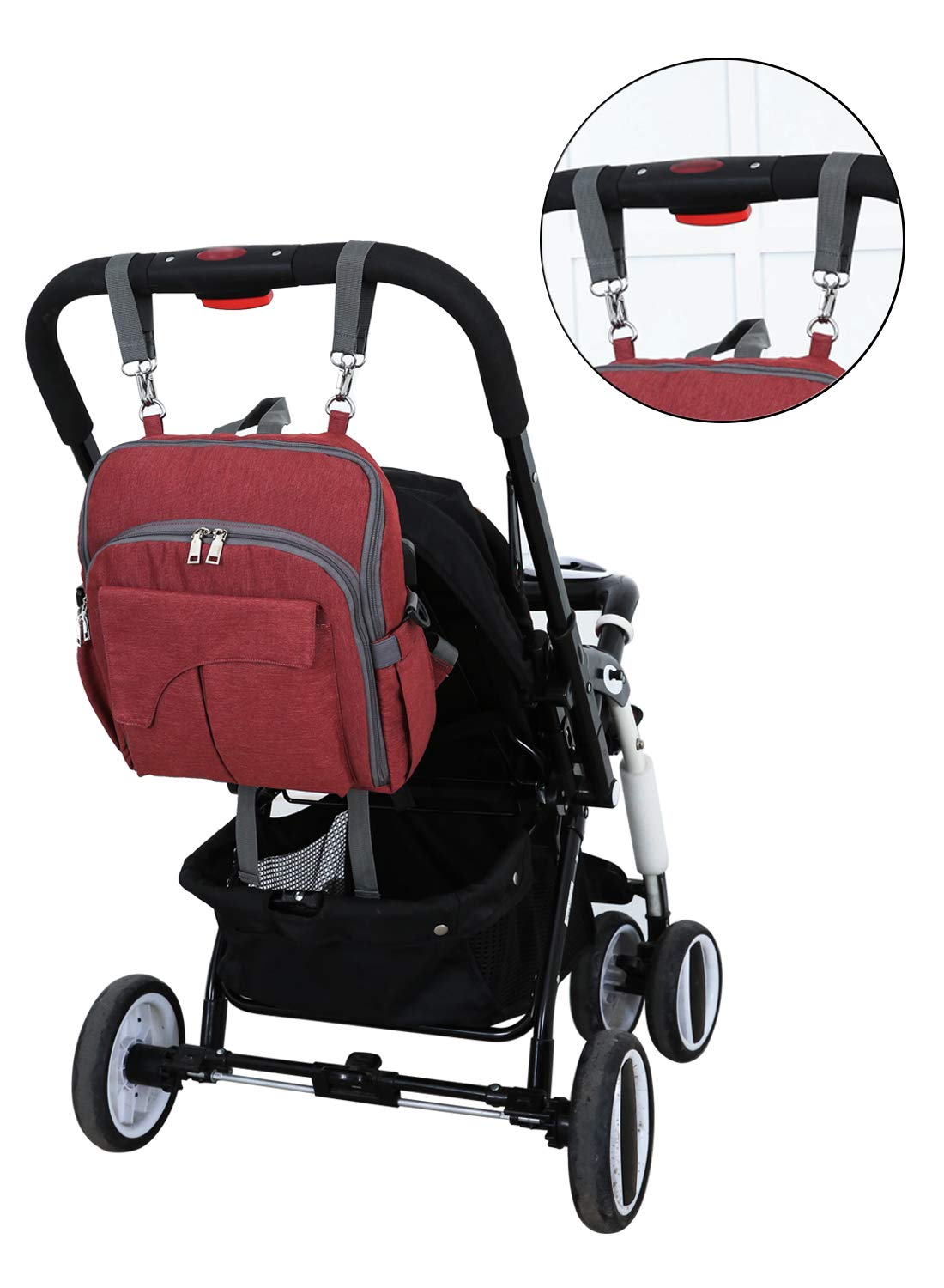 USB Charging Port Large Capacity Travel Backpacks Multi-use for Mom Baby Diaper Backpack with Front Baby Seat Waterproof Nappy Changing Bag Red Dad