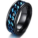 JAJAFOOK 8mm Black Stainless Steel Biker Grooved Center Edge Blue Chain Spinner Ring for Men,Size 7-13