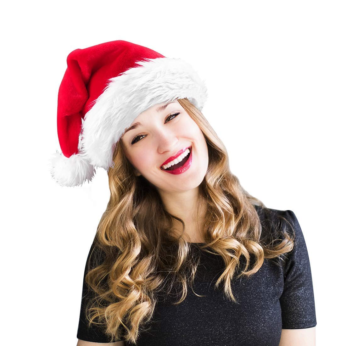 Christmas Santa Hat HOMEASY Unisex Xmas Holiday Hat Velvet Fabric Christmas Hat For Adults Party New Year Christmas Day