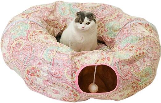 Túneles para Gatos Artículos para Gatos Tubos Y Túneles para Animales Pequeños Gato Perro Túnel Cama con Cojín Tubo Juguetes Peluche Diámetro Grande Más Largo Arrugas Plegable para Gato Grande: Amazon.es: Productos