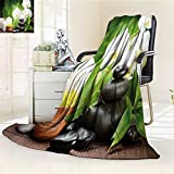 YOYI-HOME Super Soft Lightweight Duplex Printed Blanket Spa Zen Stones with Orchid and Candles Green Plants at The Background White Green and Black Oversized Travel Throw Cover Blanket /W47 x H31.5