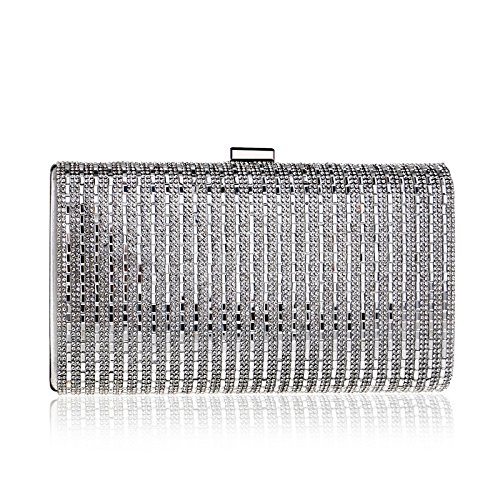 Clutch Dress Encrusted Silver Bag Banquet Evening Dress Ladies Bag GROSSARTIG Evening Diamond 4vngSxwxI