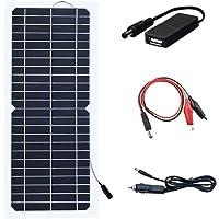 XINPUGUANG 10W 12v Panel solar flexible Módulo fotovoltaico monocristalino Cargador solar con cable de pinza de cocodrilo de CC para autocaravana, caravana, autocaravana, barco, camping, senderismo