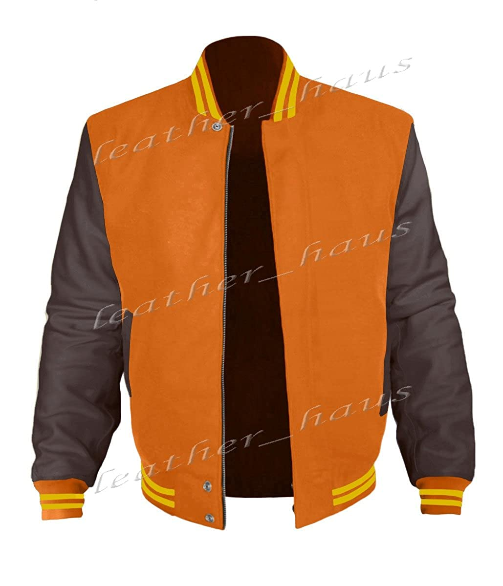 luvsecretlingerie Original American Varsity Dark Brown Leather Sleeve Letterman College Baseball Kid Wool Jackets #DBR-Y-BZ