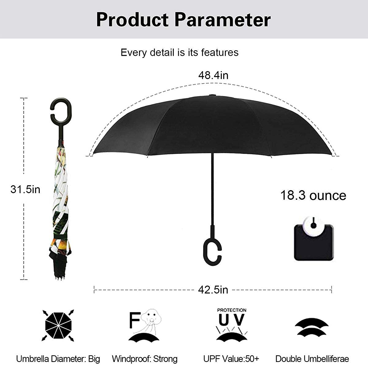 Reverse Umbrella Double Layer Inverted Umbrellas For Car Rain Outdoor With C-Shaped Handle Birds Vintage Flowers Background Customized