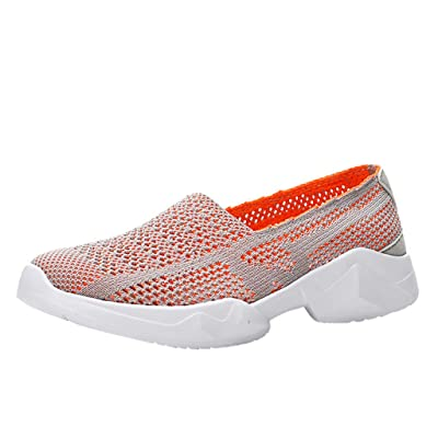 ZSBAYU Couple's Breathable Hollow Mesh Shoes Lightweight Soft Bottom Shoes Fitness Casual Sports Walk Gym Jogging Athletic Sneakers(Orange,9): Shoes
